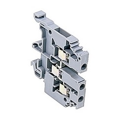Gray, feed through terminal block with 6 mm spacing, 20 Amp rated UL current with screw clamp connection that accepts 22-10 AWG UL wire range