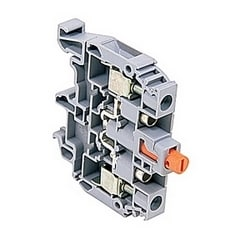 Orange Plunger, heavy duty switch terminal block with 8 mm spacing, 40 Amp rated UL current with screw clamp connection that accepts 22 - 8 AWG UL wire range