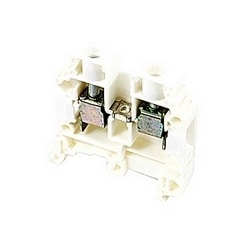 White, feed through terminal block with 8 mm spacing, 50 Amp rated UL current with screw clamp connection that accepts 22-8 AWG UL wire range