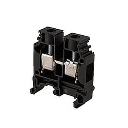 Black feed through terminal block with 10 mm spacing and 65 amp UL rated current with screw clamp connection