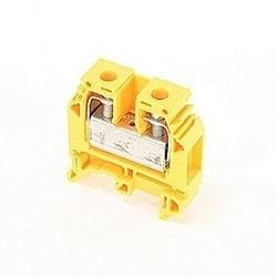 Yellow, feed through terminal block with 12 mm spacing, 85 Amp rated UL current with screw clamp connection that accepts 18-6 AWG UL wire range