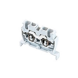 Gray miniblock terminal block with 5mm spacing and 15 amp UL rated current with spring clamp connection