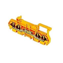 Jaune, alimentation par bloc avec espacement de 5 mm, 15 ampère UL courant nominal avec raccordement ressort qui accepte 26-12 gamme de fils AWG UL