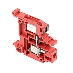 Red, feed through terminal block with 8 mm spacing, 25 Amp rated UL current with both insulation displacement and scew camp connections that accept 16-14 AWG wire range for IDC and 22 - 8 AWG wire range for screw clamp connection