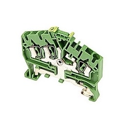 D2.5/5.I.P.3L Spring Terminal Blocks - Ground - Green-Yellow,2.5mm RatedCrossSection, 5mm Spacing TH 35-7.5, TH 35-15 Rail