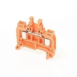 Orange, feed through terminal block with 5 mm spacing, 7 Amp rated UL current with insulation displacement system connection that accepts 24-18 AWG UL wire range