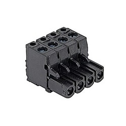 Black, 4 pole, female pluggable terminal block with 5.08 mm spacing, 12 amp rated UL current with screw clamp connection that accepts 24-12 AWG UL wire range
