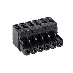 Black, 6 pole, female pluggable terminal block with 5.08 mm spacing, 12 amp rated UL current with screw clamp connection that accepts 24-12 AWG UL wire range