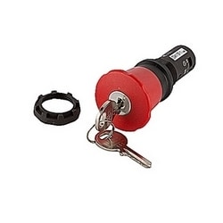 Compact emergency stop key release pushbutton with red mushroom actuator and 22mm mounting and 1 NO and 1 NC contact blocks