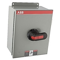 3 pole, 30 amps rated at 600 V AC, UL 508, enclosed fusible disconnect switch in a UL/NEMA 3R/12 plastic enclosure