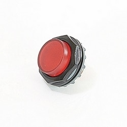 Black plastic pilot light mounting ring with red lens
