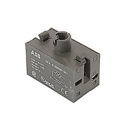 Transformer block for pilot lights with 110 to 127V AC primary voltage and 6V AC secondary voltage