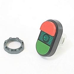 Modulaire vert et rouge lumineux double bouton-poussoir sans marquages, le voyant lumineux vert et le montage 22mm