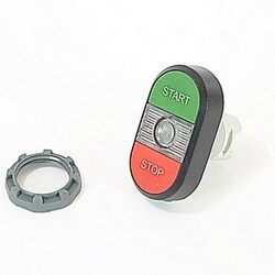 Modular green and red illuminated double pushbutton with START/STOP markings, clear indicator light and 22mm mounting