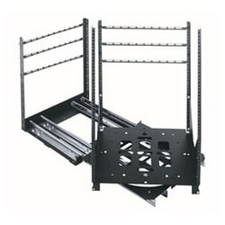 "Rack Rotating Rail System, 2 Slide, 12 Useable Rackspace, 21"" Useable Height, 19-1/4"" Depth X 24"" Height, Horizontal Mount, Flat Black Powder Coated Steel"
