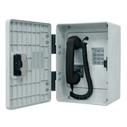 Outdoor Rugged Handset Telephone, Analog, Constructed of a High-impact, Anti-corrosive Enclosure with Metallic Braille Keypad, Noise Canceling Microphone, Volume Control Handset and Spring Door