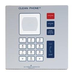 Téléphone mains-libres propre, analogique, montage mural, deux boutons de numérotation automatique avec clavier de composition locale et le fonctionnement Standard ou «intelligente»