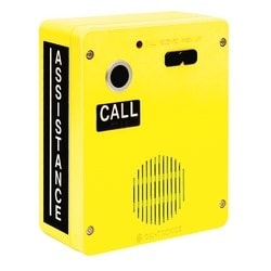 ADA, Outdoor Auto-dial Telephone, Analog, Hands-free, One Button, Standard or SMART Operation, Rugged Non-Metallic Enclosure, Surface-mount, Tamper-resistant, Bright Yellow