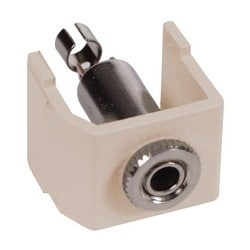 Audio Video Connector, F-Type Coupler, gold, white. Sold in carton increments only. Carton contains - 25 keystone connectors (individually bagged).