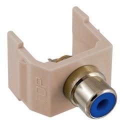 RCA Connector, Solder Termination, BlueInsulator, Almond Housing