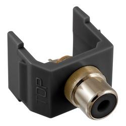 RCA Connector, Solder Termination,Black Insulator, Black Housing