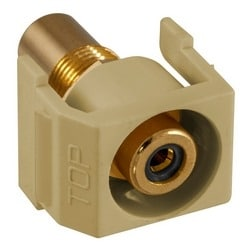 Recessed RCA Connector, BlackInsulator, Electric Ivory Housing