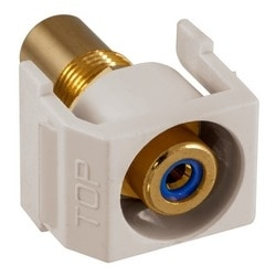 Recessed RCA Connector, Blue Insulator,Office White Housing
