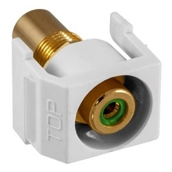 Recessed RCA Connector, GreenInsulator, White Housing