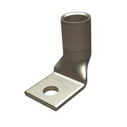 Copper Compression Lug, Bevel Entry, 1 Hole With Inspection Window, Standard Barrel, 1/4 Inch Stud, 1/0 AWG Flex & 1/0 AWG Stranded & 1/0 (275/#24) DLO, Tin Plated, Pink, 600 Volt - 35 Kilo-Volt