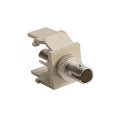 QuickPort ST Fiber Optic Adapter, SM, Zirconia Sleeve, Ivory