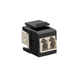 QuickPort Duplex LC Adapter, MM, phosphor bronze sleeve, Beige/Black