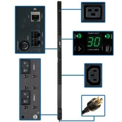 5/5.8kW Single-Phase Monitored PDU, 208/240V Outlets (36 C13 & 6 C19), L6-30P, 10ft Cord, 0U Vertical, TAA