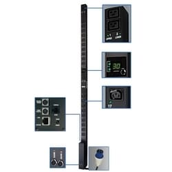 7.4kW Single-Phase Switched PDU, 230V Outlets (20 C13, 4 C19), IEC309 32A Blue, 10ft Cord, 0U Vertical, TAA Compliant