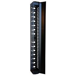 """Haute densité Finger Style Vertical Cable Manager, 82,5 %"""" H X 15"""" W X Rack 8U noire Fits D 75,44 «"""