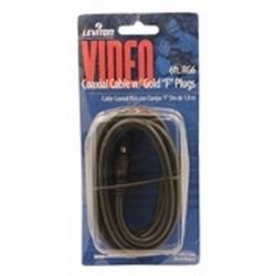 Câble coaxial, RG6, or plaqué, 6' noir