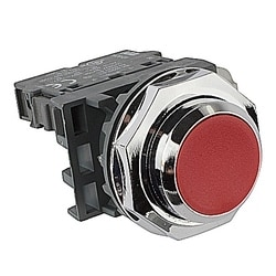 Push Button - Momentary, 30mm Flush, Red, 1NC Modular