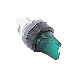 22mm Modular - Illum Selector, 3 Position Knob, A-B-C, Green, BP