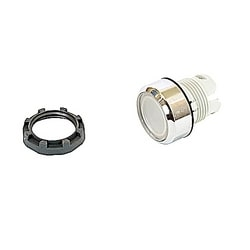 22mm Modular - Illum Pushbutton MOM, Flush, Chrome Bezel Clear