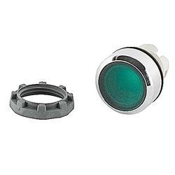 22mm Modular - Illum Pushbutton MOM, Flush, Illuminated, Chrome Bezel Green