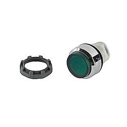 22mm Modular - Illum Pushbutton MOM, Extended, Chrome Bezel Green