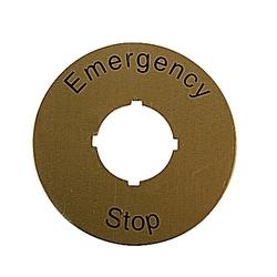 E-Stop Legend Plate Yellow Aluminum, 60mm