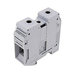 Gray, feed through terminal block with 22 mm spacing, 159 Amp rated UL current with screw clamp connection that accepts 2 - 0000 AWG UL wire range