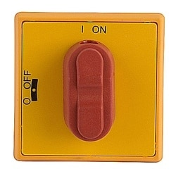 Red and yellow selector snap on selector handle with O/I and OFF/ON markings and protection according to NEMA 1 and IP54