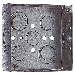 "Junction box, 4"" SQUARE, STL, 21CU, 1/2&3/4KO"