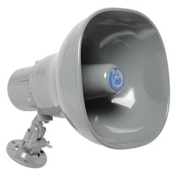 15 W horn speaker with 25/70.7/100 V transformer and 5-MFD capacitor for line supervision