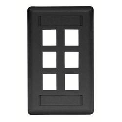 Plaque, mur, Flush, 1-G, 6Port, noir