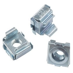 4 12-24 Cage Nuts Self-Retaining Cage Nuts 12-24 Zinc Plated Steel Square Cage Nuts