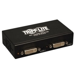 2-Port DVI Splitter with Audio and Signal Booster, Single-Link 1920x1200 at 60Hz/1080p (DVI F/2xF), TAA
