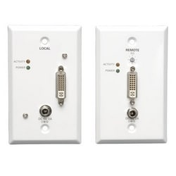 DVI over Cat5/Cat6 Active Extender Kit, Wallplate Transmitter and Receiver, 1920x1080 at 60Hz, Up to 200-ft., TAA