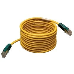 Cat5e 350MHz Molded Cross-over Patch Cable (RJ45 M/M) - Yellow, 25-ft.